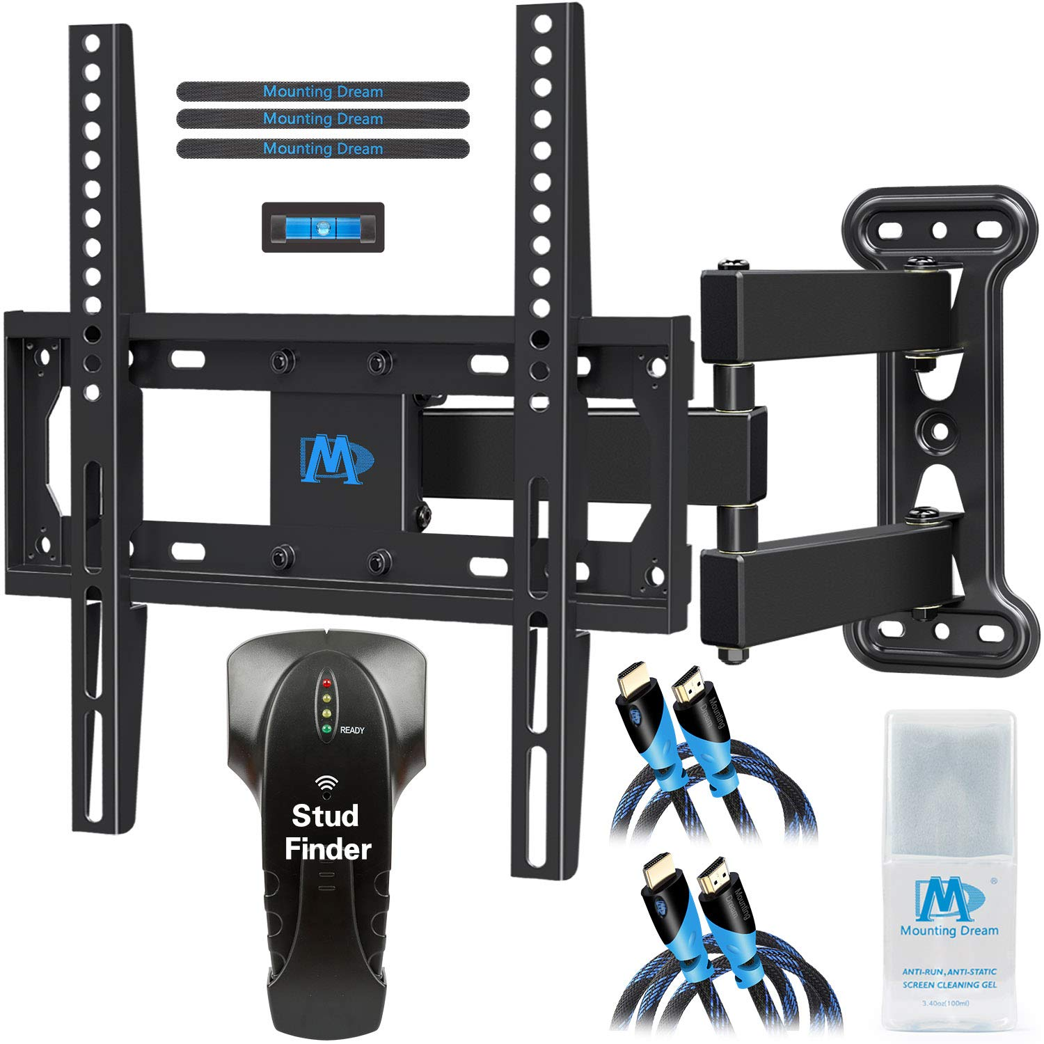 Mounting Dream Full Motion TV Mount for 26-55 Inches TVs, TV Bracket Kit Includes Stud Finder & 2 HDMI Cables, TV Wall Mount Bracket up to VESA 400x400mm and 60lbs loading, MD2377-KT by Mounting Dream