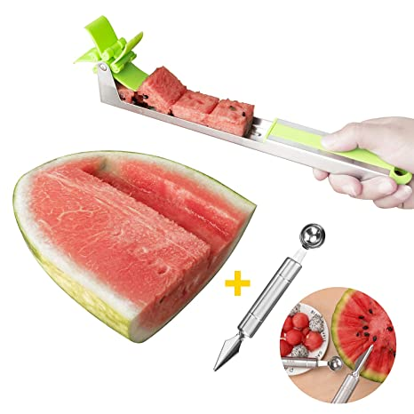 Udream 1Pack Simple Stainless Steel Windmill Watermelon Slicer for Melon and Cantaloupe