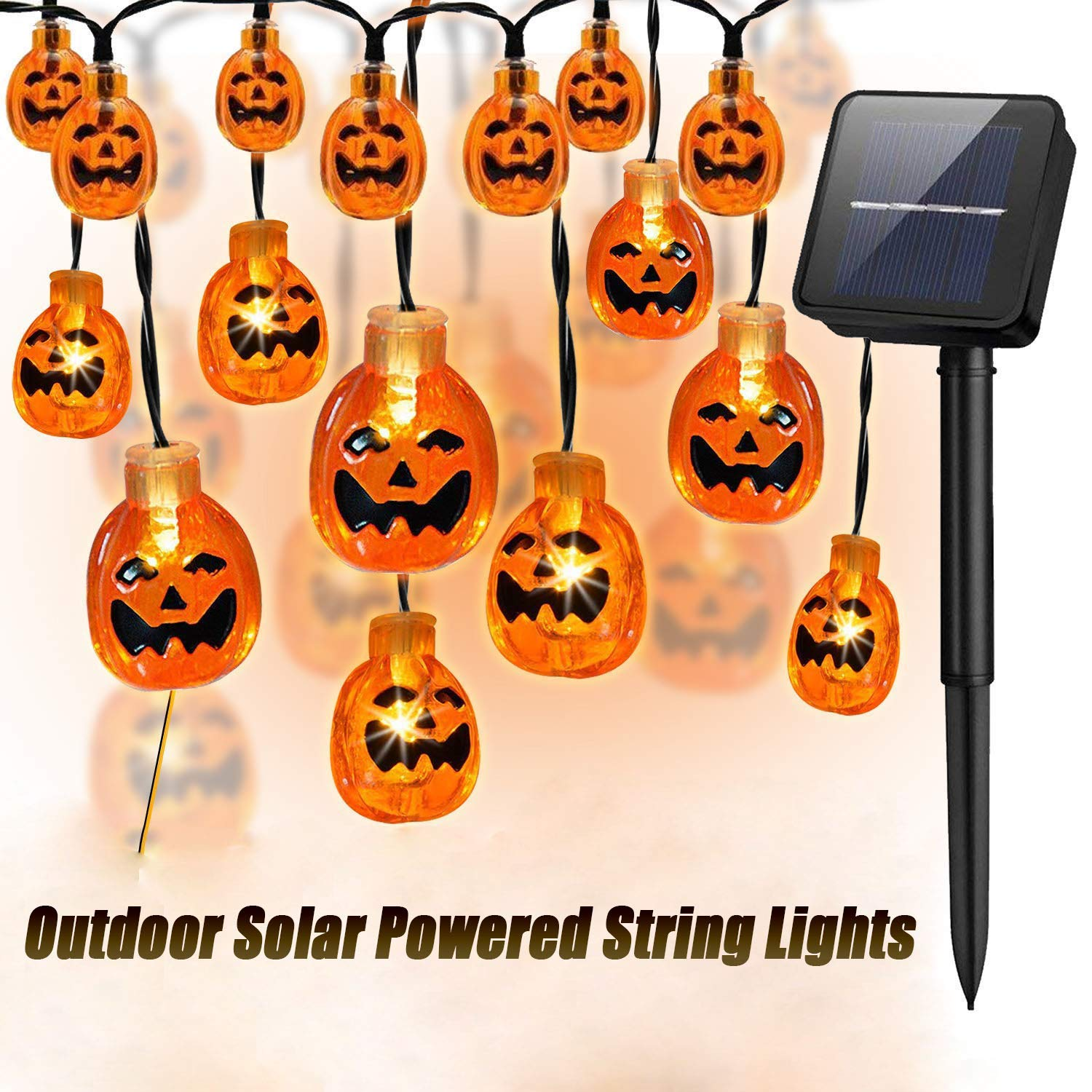 Ausein 3D Halloween Pumpkin String Lights, 19.7ft 30 LED Solar Powered Outdoor Waterproof Pumpkin Light for Home Patio Garden Yard Decoration - Warm White