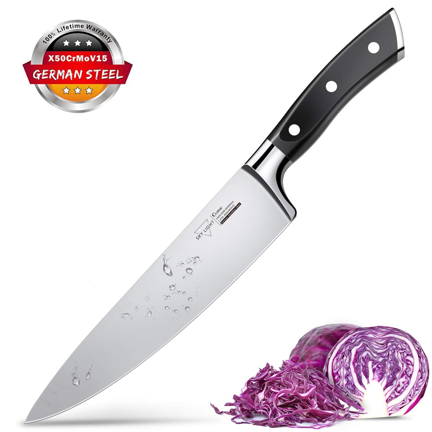 Chef Knife, Kitchen Knife 8 Inch Home Pro Cooking Chopper Knives High Carbon German Stainless Steel Ultra Sharp Blade with Ergonomic Handle