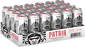 Patria SUGAR FREE Energia Pura (Pure Energy) Energy Drink with Hordenine for Sustained Energy