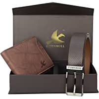 HORNBULL Brown Men's Leather Wallet and Belt Combo - BW6990