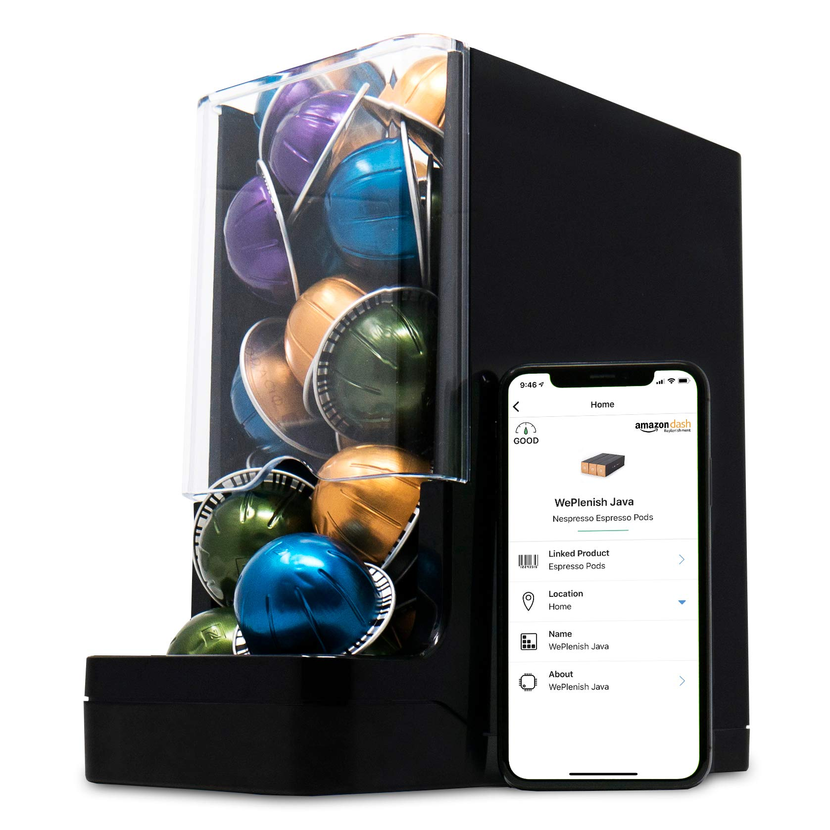 Never Run Out of Coffee - WePlenish Java - Smart Coffee Pod Holder with Amazon Dash Replenishment Built In | Nespresso Capsule and Keurig K-Cup Holder Black by WePlenish (Image #1)