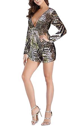 Donna Tuta Tutine Corto Elegante Estive Vintage Paillettes Tute Cute Chic Lunghe  V Profondo Monopezzi Da 326faf1853f