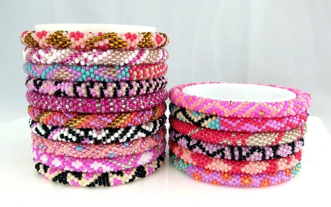Handmade Crochet Glass Seed Bead Nepal Roll On Bracelets {SET of 10} Assorted Wholesale Pink Scheme