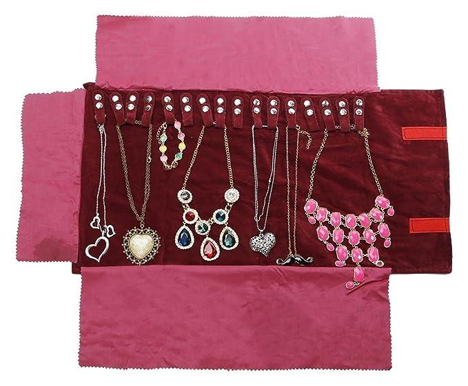 Amazoncom WODISON Travel Velvet Jewelry Roll Necklaces Organizer