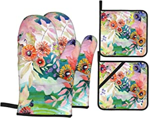 Lebenzat Oven Mitts and Pot Holders 4pcs Set,Food Safe-Plants and Flowers Baking Gloves with Soft Inner Lining,Waterproof Polyester Oven Gloves for Kitchen,Baking,Cooking,BBQ