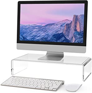 MaxGear Acrylic Monitor Stand,Computer Monitor Stands Riser for Home Office Business with Sturdy Platform,PC Desk Stand for Keyboard Storage & Multi-Media Laptop Printer, 1 Pack