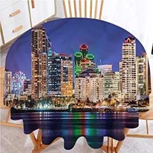 """shirlyhome Circular Table Cover USA Multi Color Pattern Colorful Skyline of San Diego (Diameter 36"""")"""