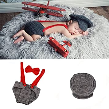 5bba406a7 Amazon.com : Newborn Baby Boy Costume Handmade Crochet Knitted Clothes  Photo Photography Prop Cap Beanie with Suspenders Bowtie Diaper Outfit :  Baby