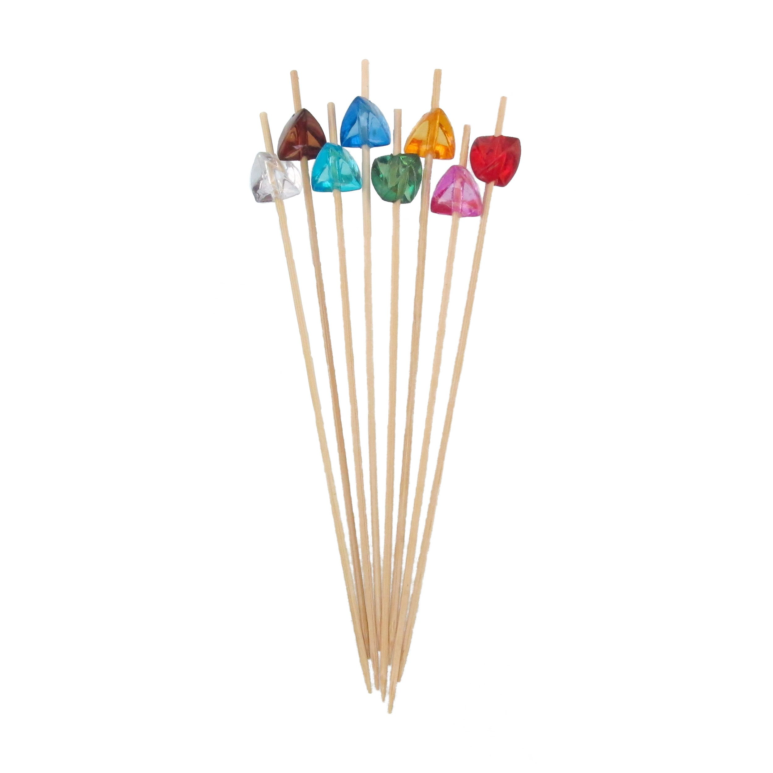 BambooMN 5.9'' Decorative Acrylic Gem End Bamboo Cocktail Fruit Sandwich Picks Skewers for Catered Events, Holiday's, Restaurants or Buffets Party Supplies, 100 Pcs