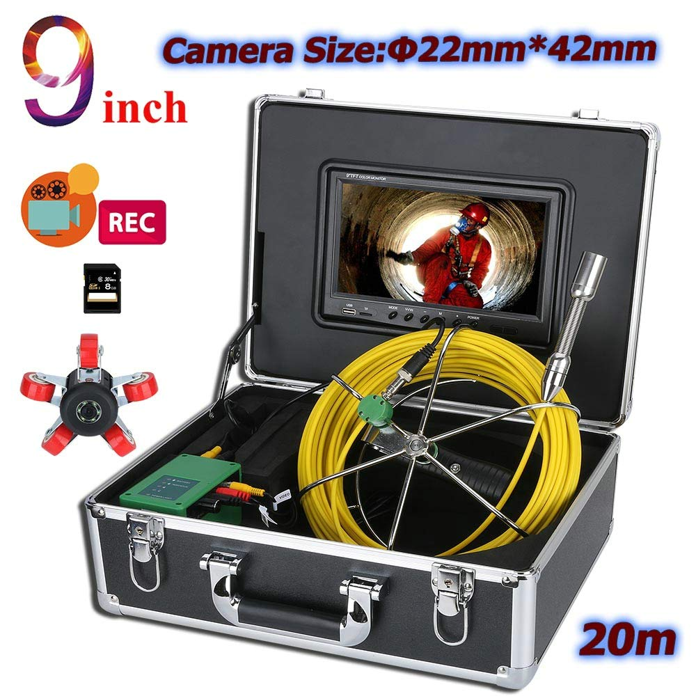 WESEAZON 9 inch DVR 22mm Pipe Inspection Video Camera, 20M IP68 Waterproof Drain Pipe Sewer Inspection Camera System 1000 TVL Camera with 6W LED Lights,50M