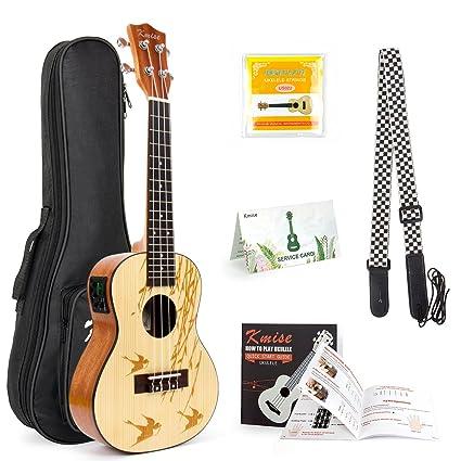 Ukelele de concierto de pícea maciza acústica eléctrica de 23 pulgadas ukelele guitarra kit de uke