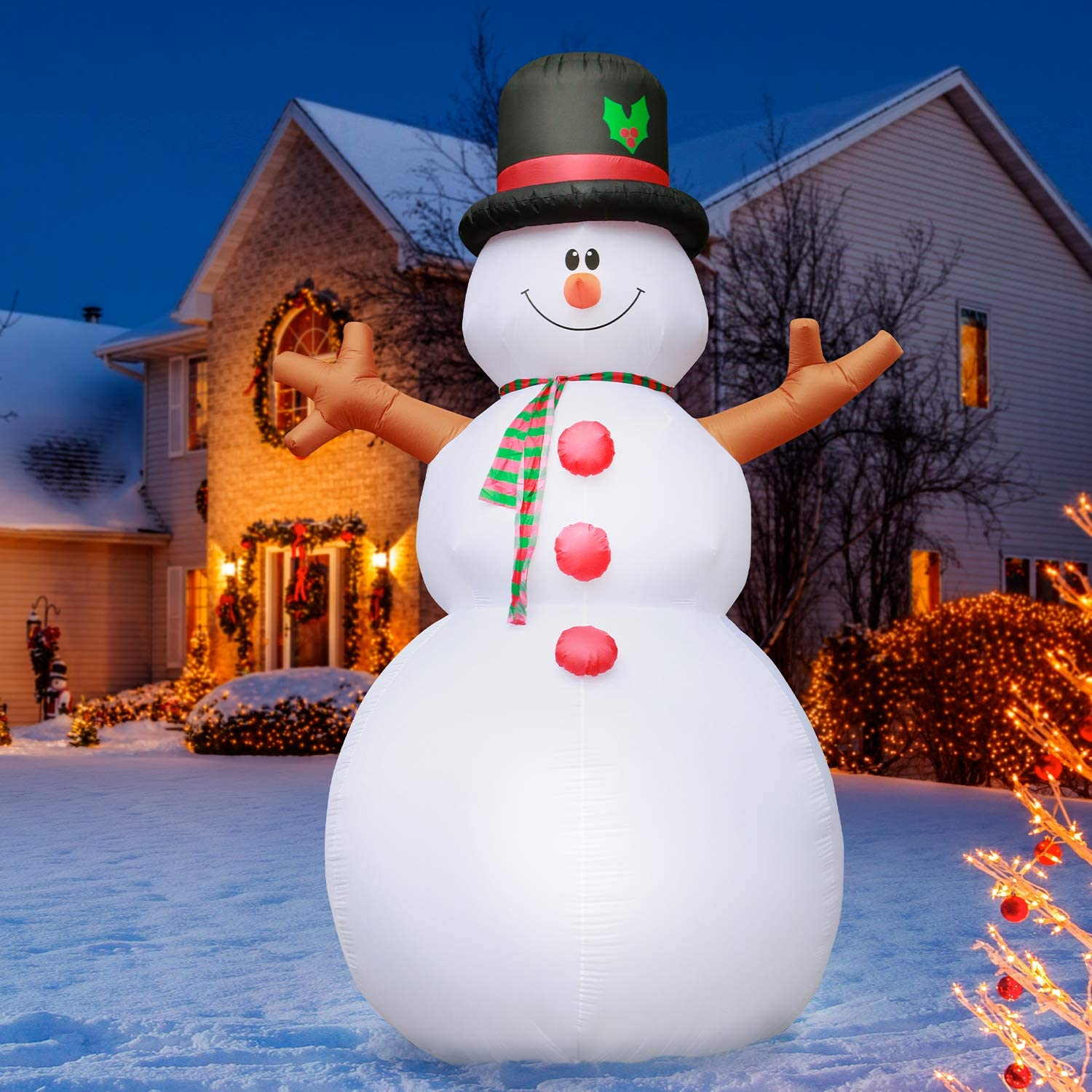 Holidayana Christmas Snowman Inflatable Decor - 15 Ft. Snowman Christmas Inflatable Decor with Interior Lighting, Built-in Fan, and Anchor Ropes