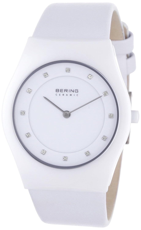 Bering Ceramic - Reloj analógico de caballero de cuarzo con correa de piel blanca - sumergible a 50 metros