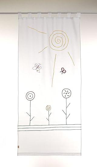 Bambiente Baby Kinderzimmer Vorhnge Gardinen Sunshine 105x240cm Mit Schlaufen Baumwolle Weiss Transparent 2 Schals