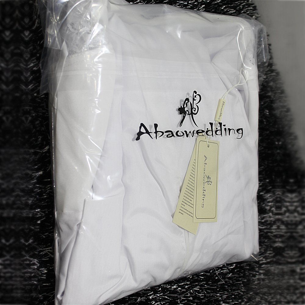 Women's Summer Style Sleeveless Lace Wedding Dress Long White Tube Dress (size14) by Abaowedding