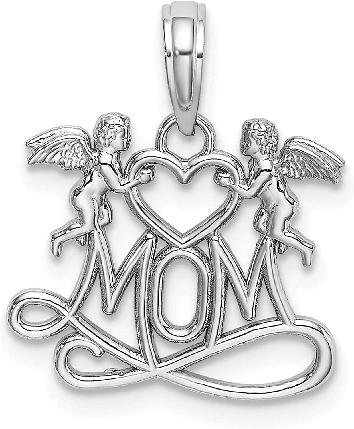 10K White Gold MOM With Heart With Angels Charm Pendant