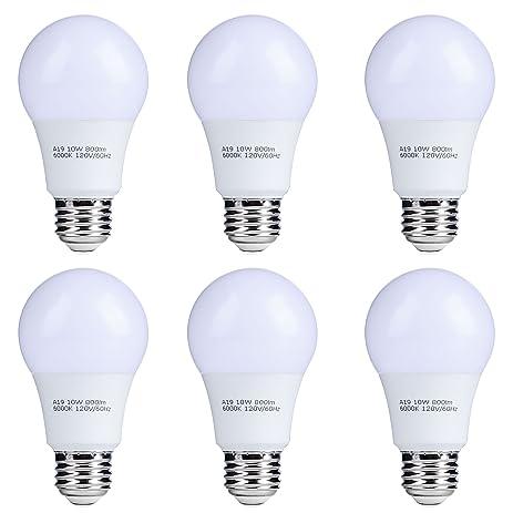 6 pack 10w a19 led light bulbs ul listed energy star 800lm 6000k
