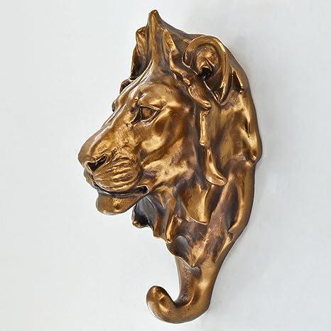 Perchero en forma de cabeza de león, accesorio decorativo ...