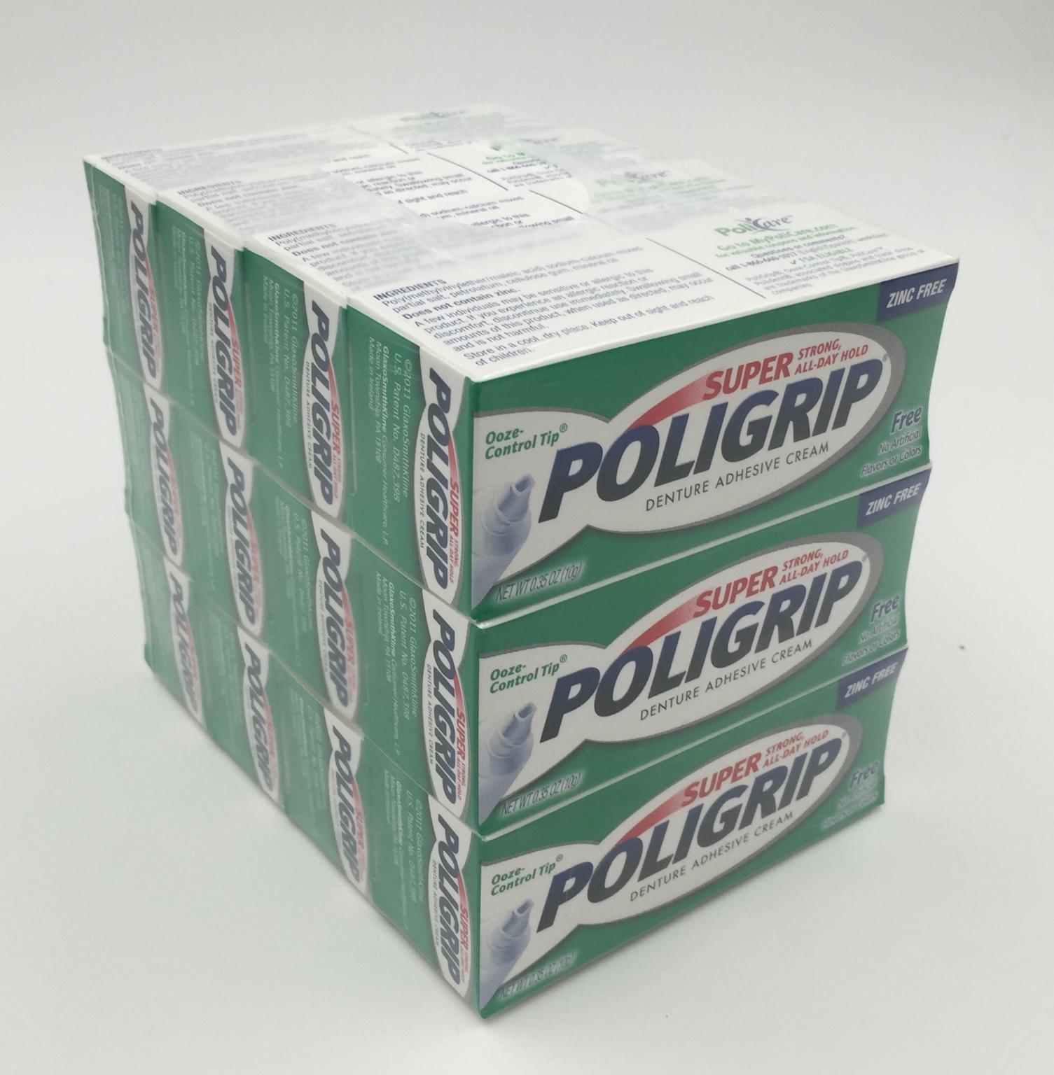 Lot of 12 0.35oz Super Poligrip Denture Adhesive Cream Pocket Size