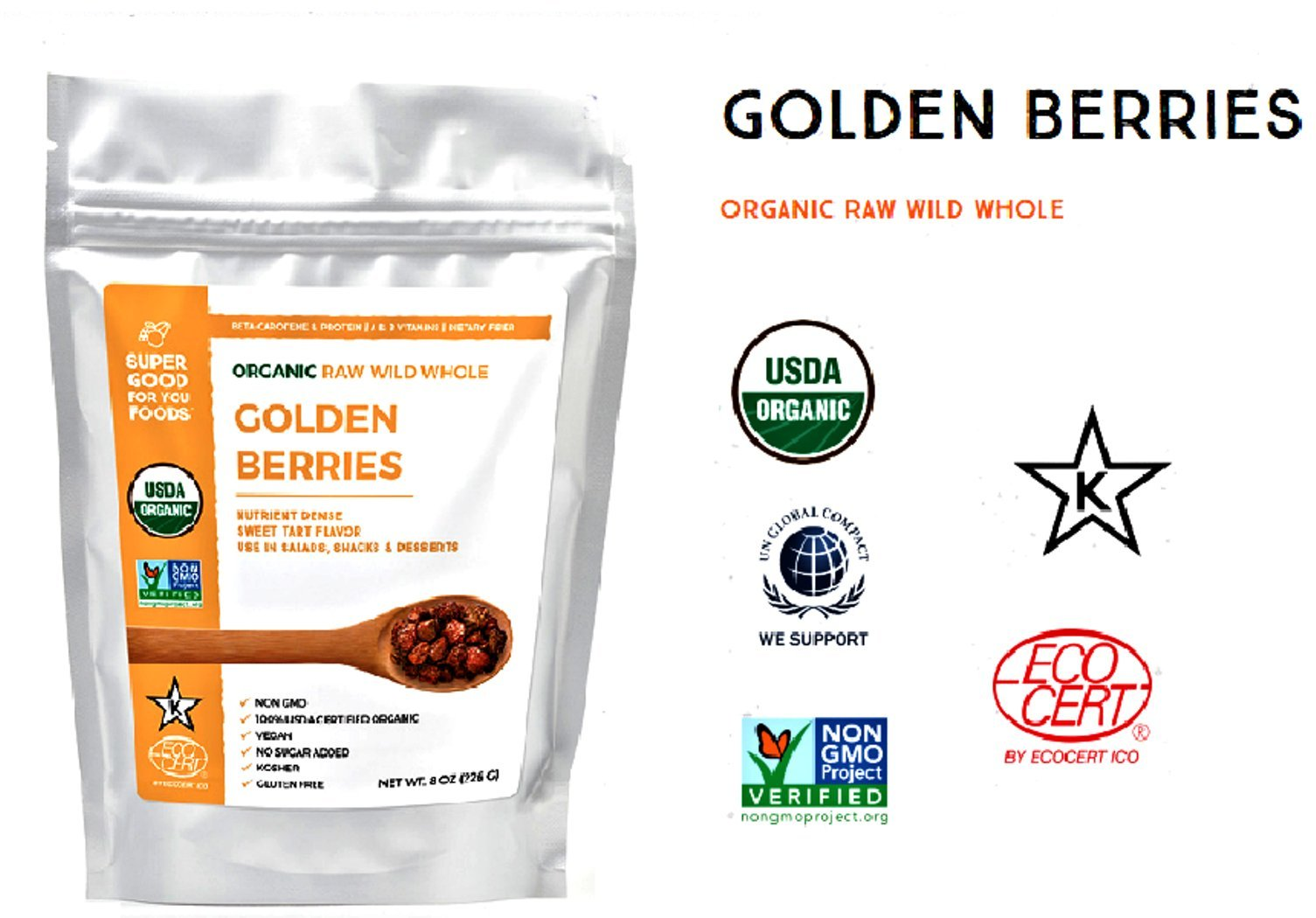 Super Good For You Foods Organic Raw Whole Golden Berries, Gluten-Free, Non-GMO + Vegan, 16 Ounce Bag