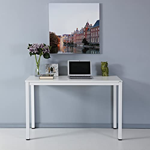 AUXLEY White Writing Computer Desk, 47 inch Modern Simple Study Home Office Desk, Wood and Metal PC Folding Laptop Table