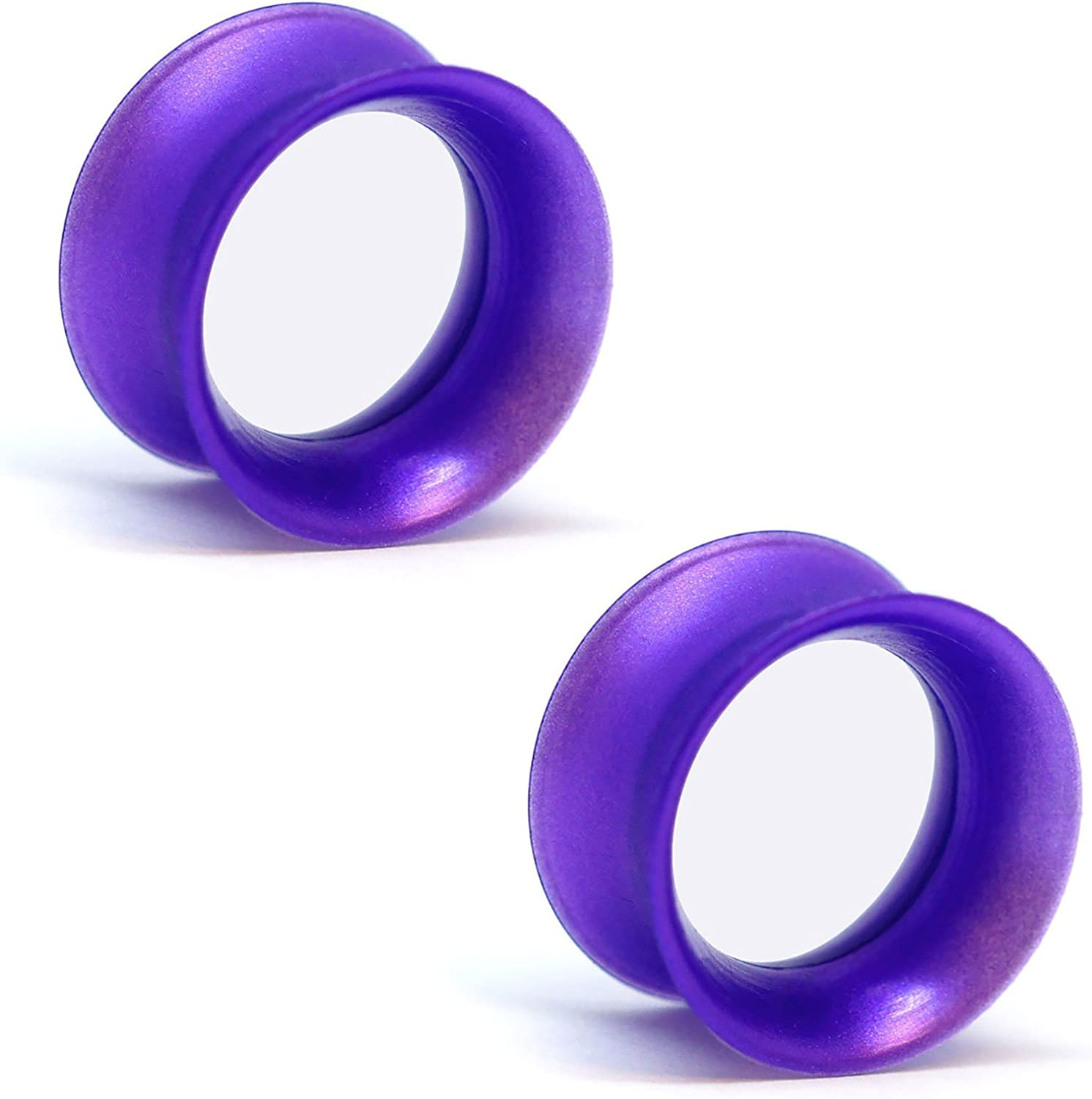 KAOS Brand: Pair of Opalescent Royal Purple Pearl Silicone Double Flared Skin Eyelets