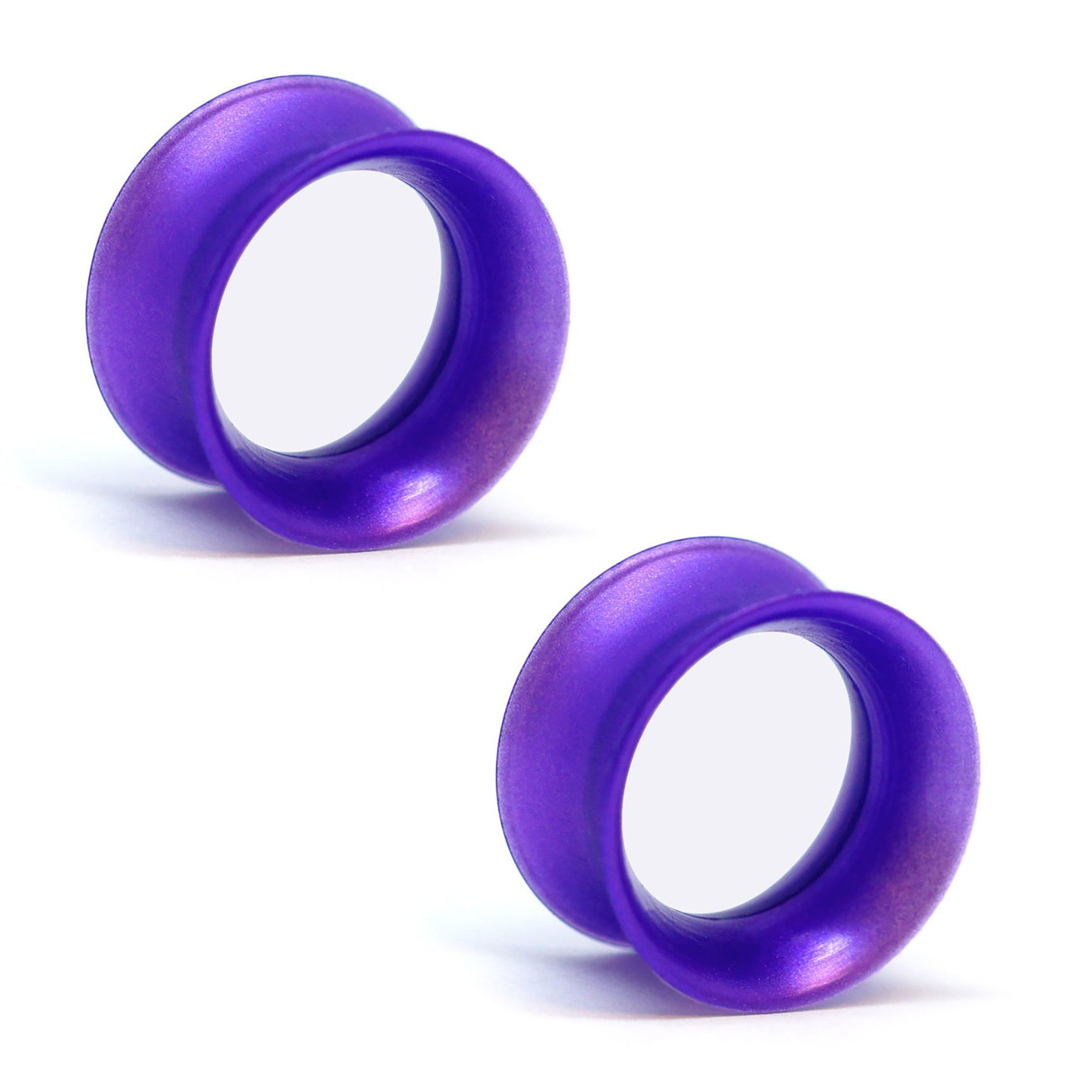 Pair of Silicone Double Flared Skin Eyelets: 2g, Wearable Length: 5/16'' Royal Purple Pearl