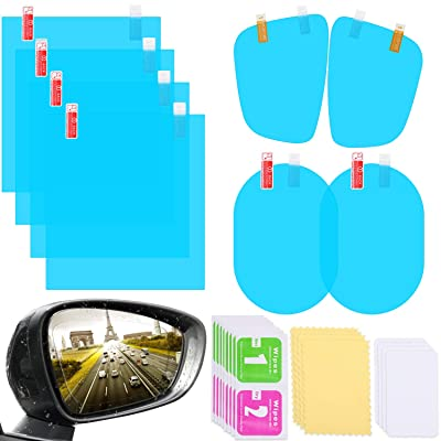 8 Pieces Car Rearview Mirror Film Rainproof Waterproof Mirror Film Anti Fog Nano Coating Car Film for Car Mirrors and Side Windows, Various Shapes: Automotive
