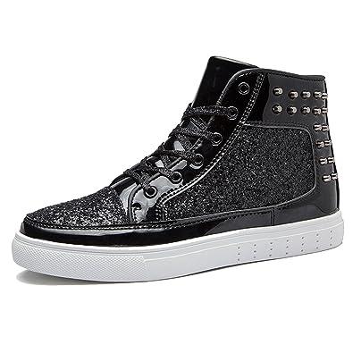 CHNHIRA Damen Herren Hanna Sneaker Pailletten Schuhe (EU 38, Schwarz)