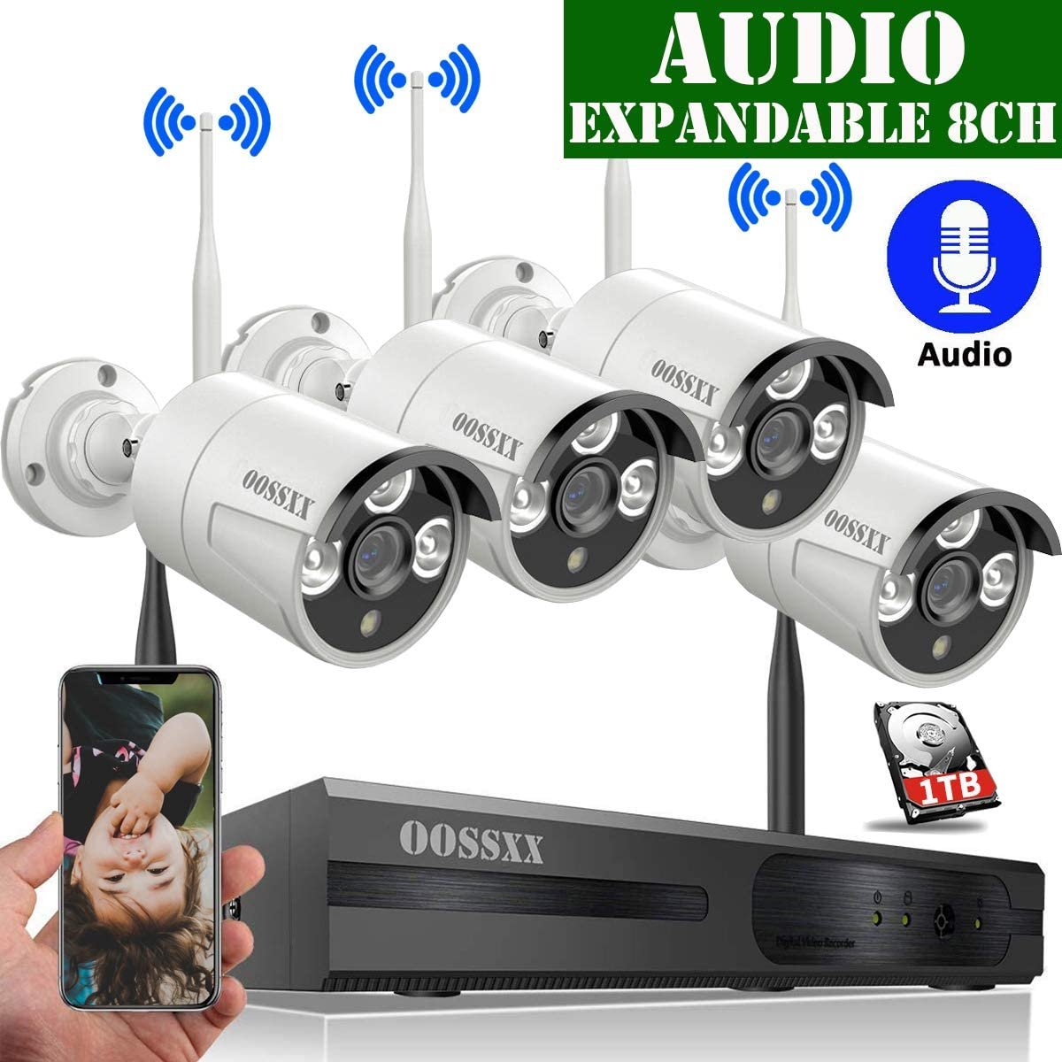 【Expandable 8CH&Audio】 Wireless Video Security Surveillance Camera System with Hard Drive,OOSSXX 8CH HD 1080P Home NVR/DVR Kit,4Pcs 1080P Wireless Outdoor IP Cameras with One-Way Audio,P2P,App