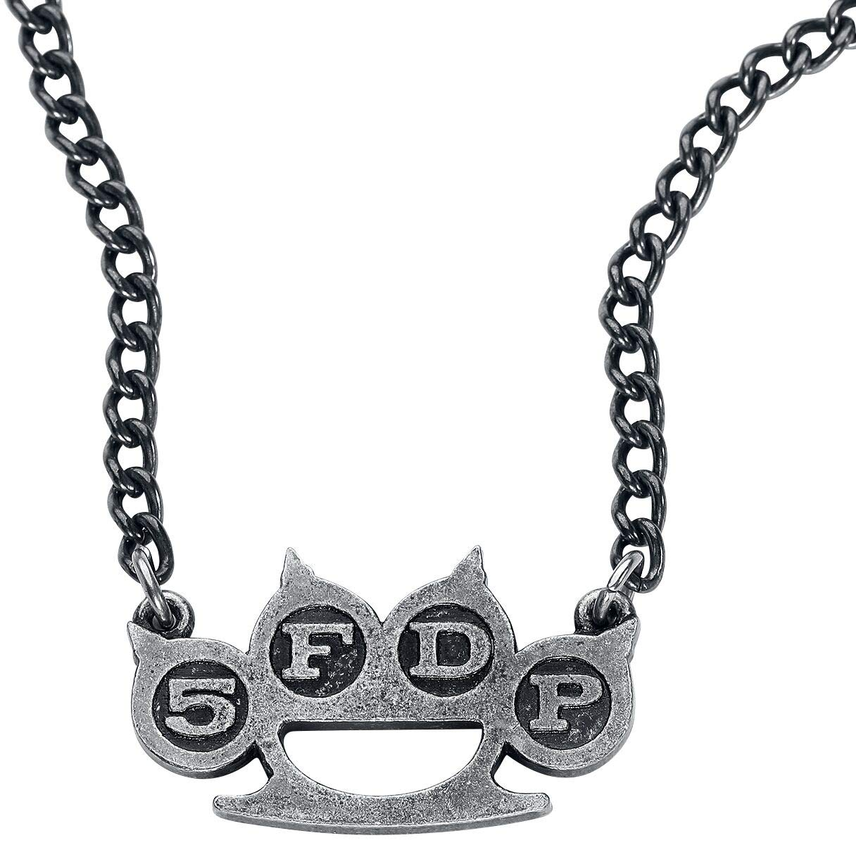 Five Finger Death Punch Knuckle Unisex Necklace Silver-Coloured, Pewter,