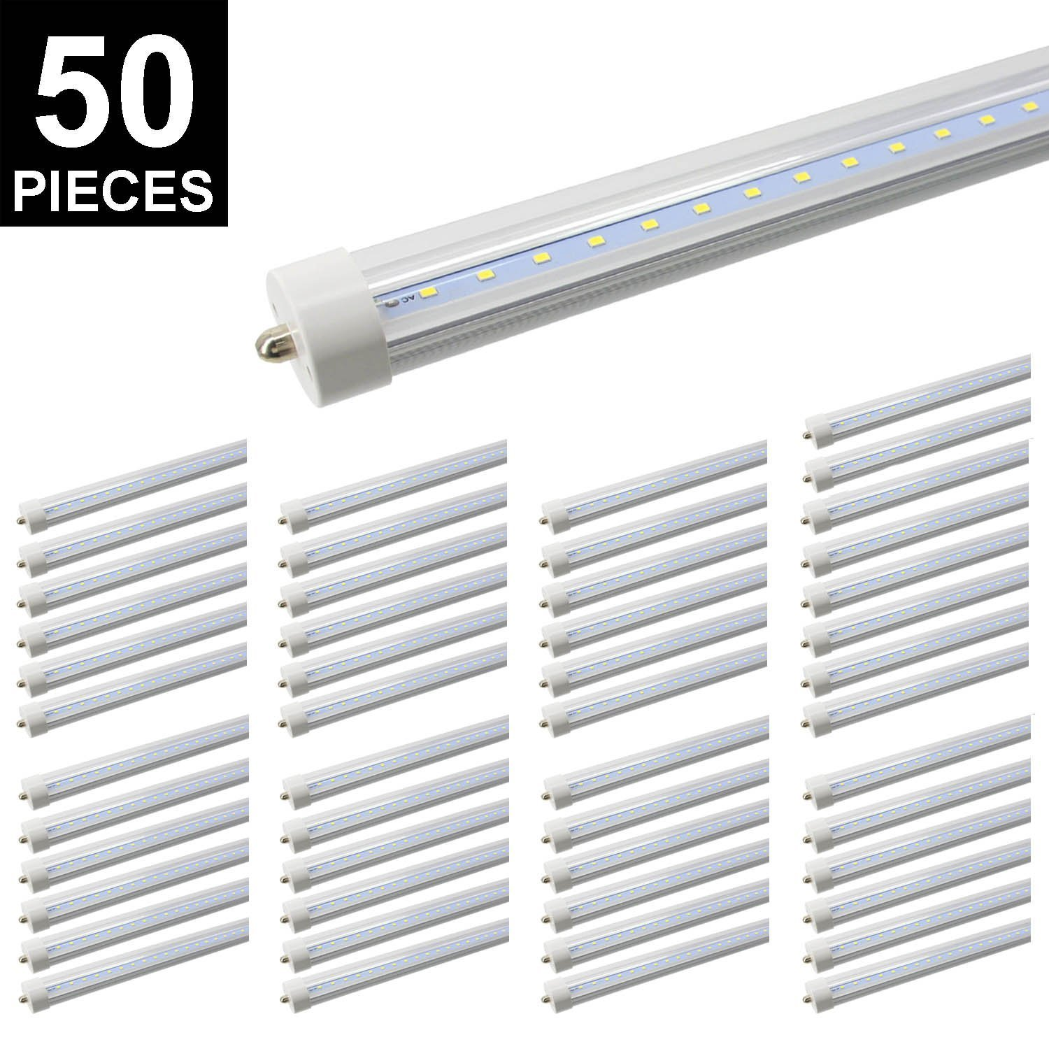 CNSUNWAY LIGHTING 8ft LED Tube, 96'' 45Watt T8 FA8 Single Pin LED Bulbs With Clean Cover, 4800LM Super Bright 6000K Cool White … (50-Pack)