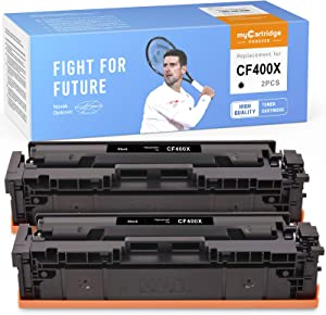 myCartridge PHOEVER Compatible Toner Cartridge Replacement for HP 201X CF400X 201A High Yield for HP Color Laserjet Pro MFP M277dw M277n M277c6 M277 M252dw M252 M252n Printer (Black, 2-Pack)
