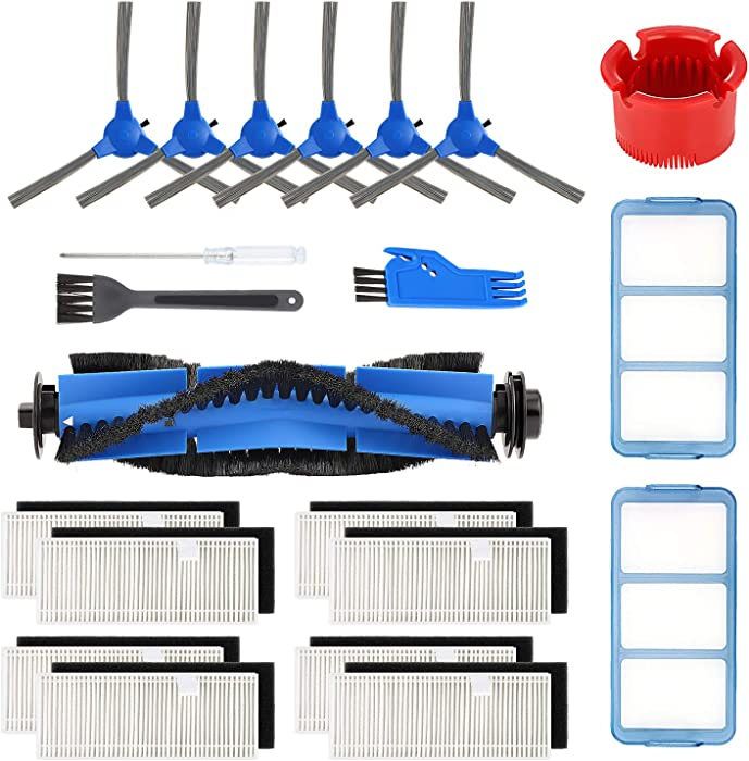 isinlive Accessory Kit for eufy RoboVac 11S RoboVac 30 RoboVac 30C RoboVac 15C RoboVac 12 RoboVac 35C Replacement Parts, 17 Pack (8 Filters + 6 Side Brushes + 2 Primary Filters + 1 Rolling Brush)