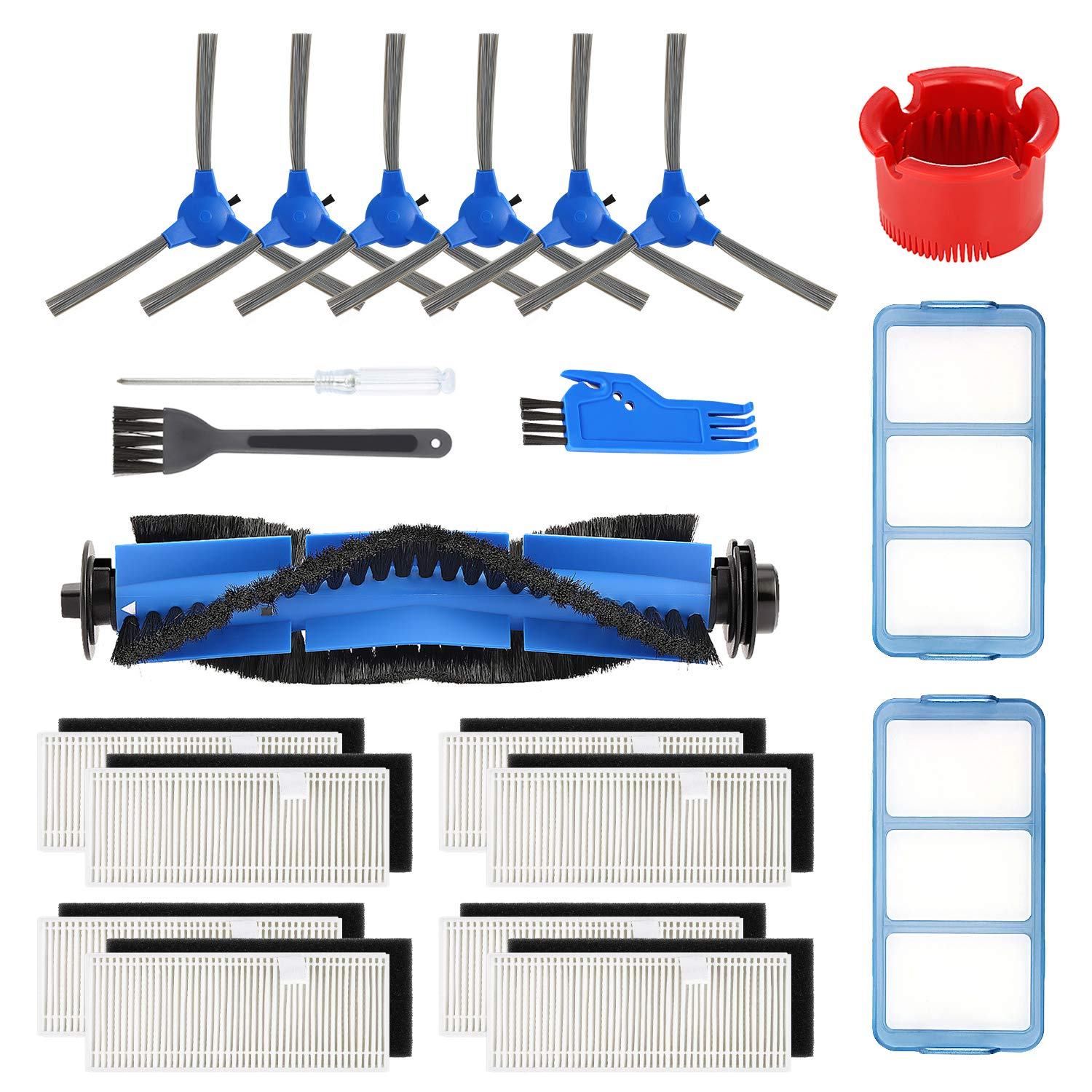 isinlive Accessory Kit for eufy RoboVac 11S RoboVac 30 RoboVac 30C RoboVac 15C RoboVac 12 RoboVac 35C Replacement Parts, 17 Pack (8 Filters + 6 Side Brushes + 2 Primary Filters + 1 Rolling Brush) by isinlive