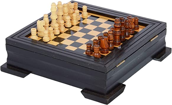 Kids Mandi Small Wooden Chess Set with Chess Pieces and Square Shape Case (6 x 6-inches)