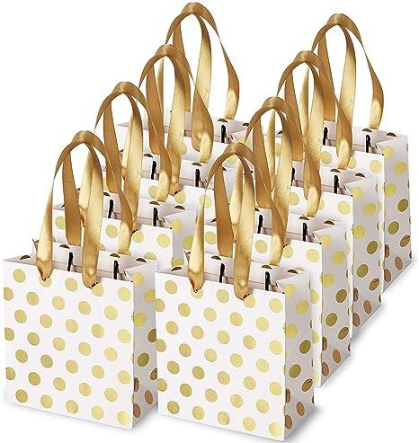 Cikuso Small Gift Bags with Ribbon Handles Gold Mini Gift Bag,for Birthday Weddings Christmas Holidays Graduation Baby Showers(Metallic Dots 8 Pack