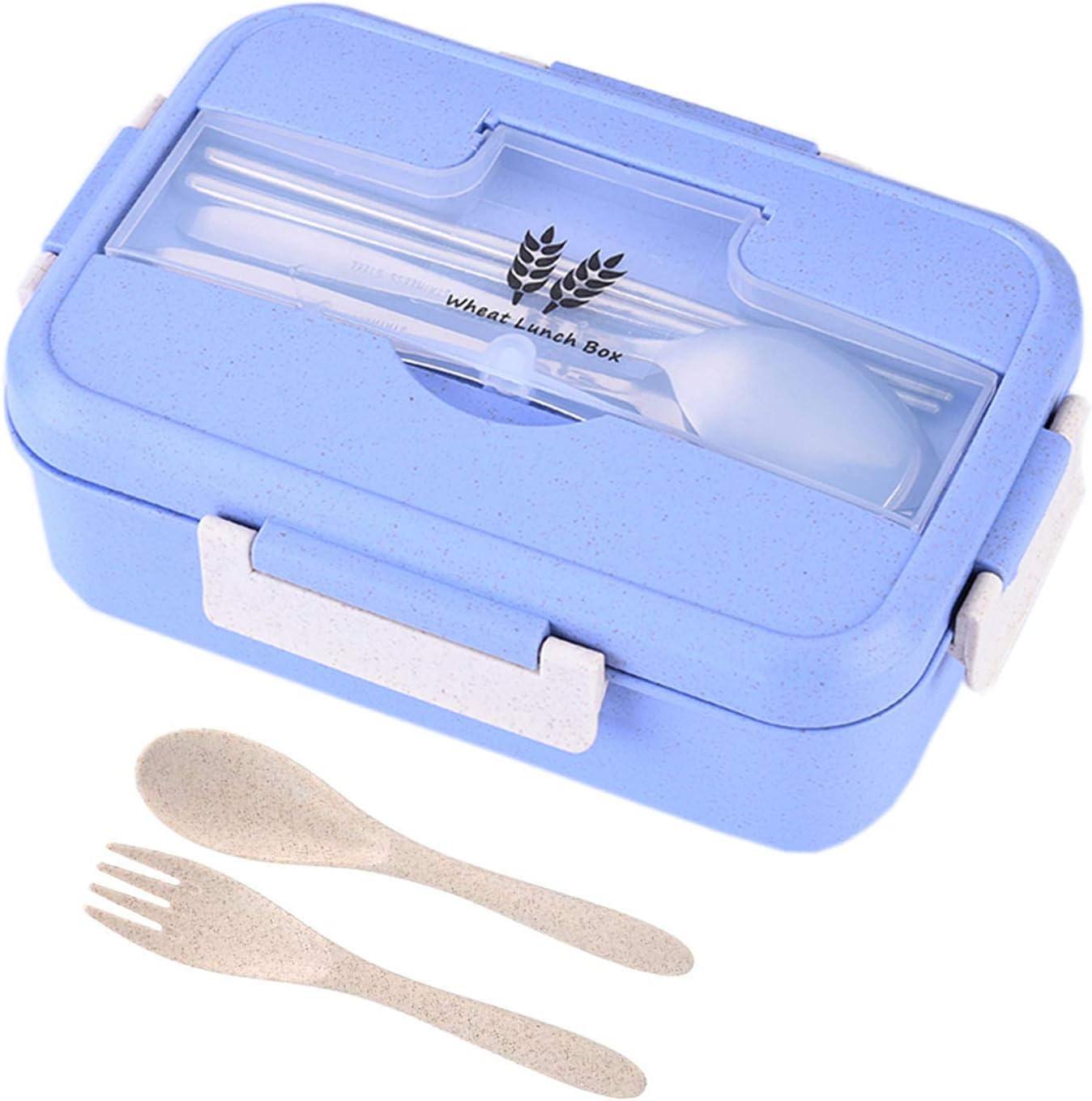 Fiambrera Infantil Caja de Bento,Infantil Paja de Trigo loncheras,Bento Box con 3 Compartimentos y Cubiertos, para el Trabajo, Escuela, Viajes (Azul)