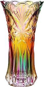 WINOMO 1pc Flower Vase Crystal Glass Phoenix Tail Shape Vase Large Size Rainbow Colorful Flower Vase for Home Decor