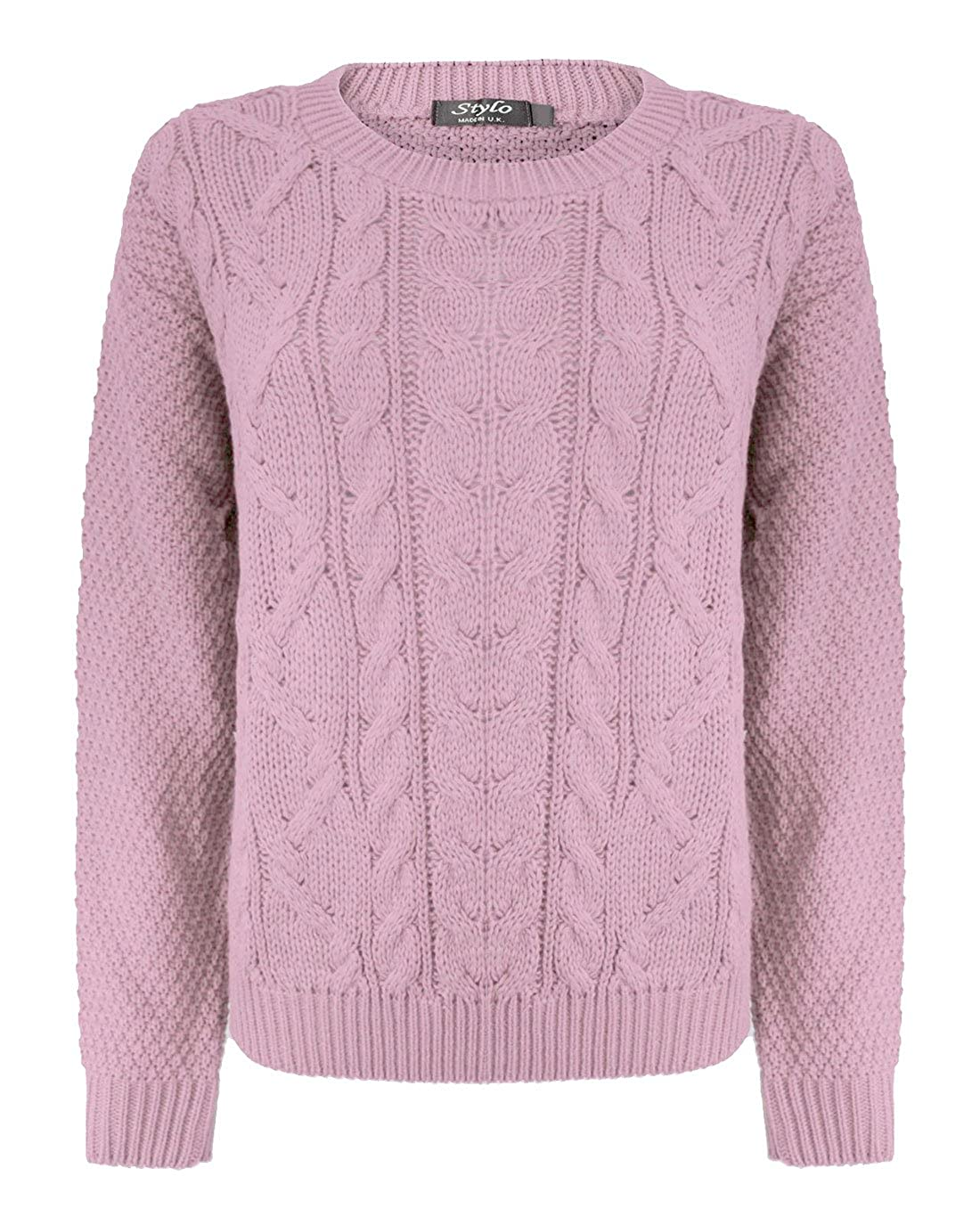 f3d47840a1ea27 HAAS TRADING Womens Cable Knitted Long Sleeves Chunky Crew Neck Jumper  Ladies Cardigan Baggy Sweater  Amazon.co.uk  Clothing
