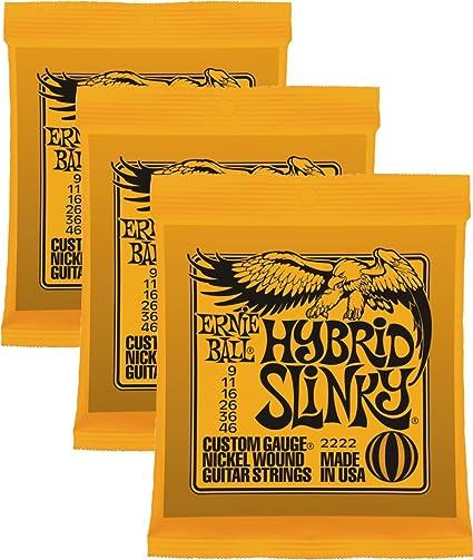 Carcasa híbrida Níquel Ernie Ball Slinky 2222 naranja cuerdas para guitarra eléctrica , 3 unidades (