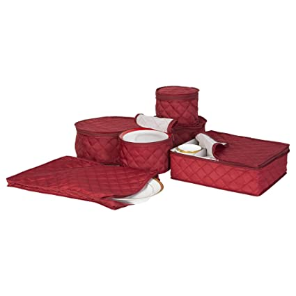 Delicieux Quilted China Keepers 6pc. Starter Set  Crimson