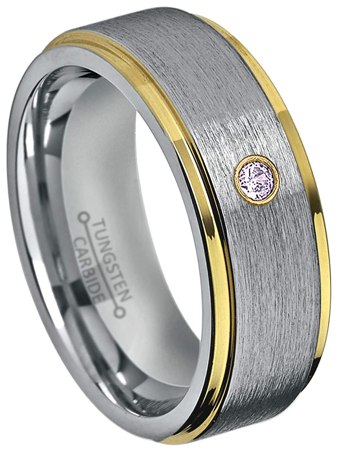 Jewelry Avalanche 8MM Brushed 2-Tone Stepped Edge Tungsten Carbide Wedding Band February Birthstone Ring 0.07ct Amethyst Tungsten Ring