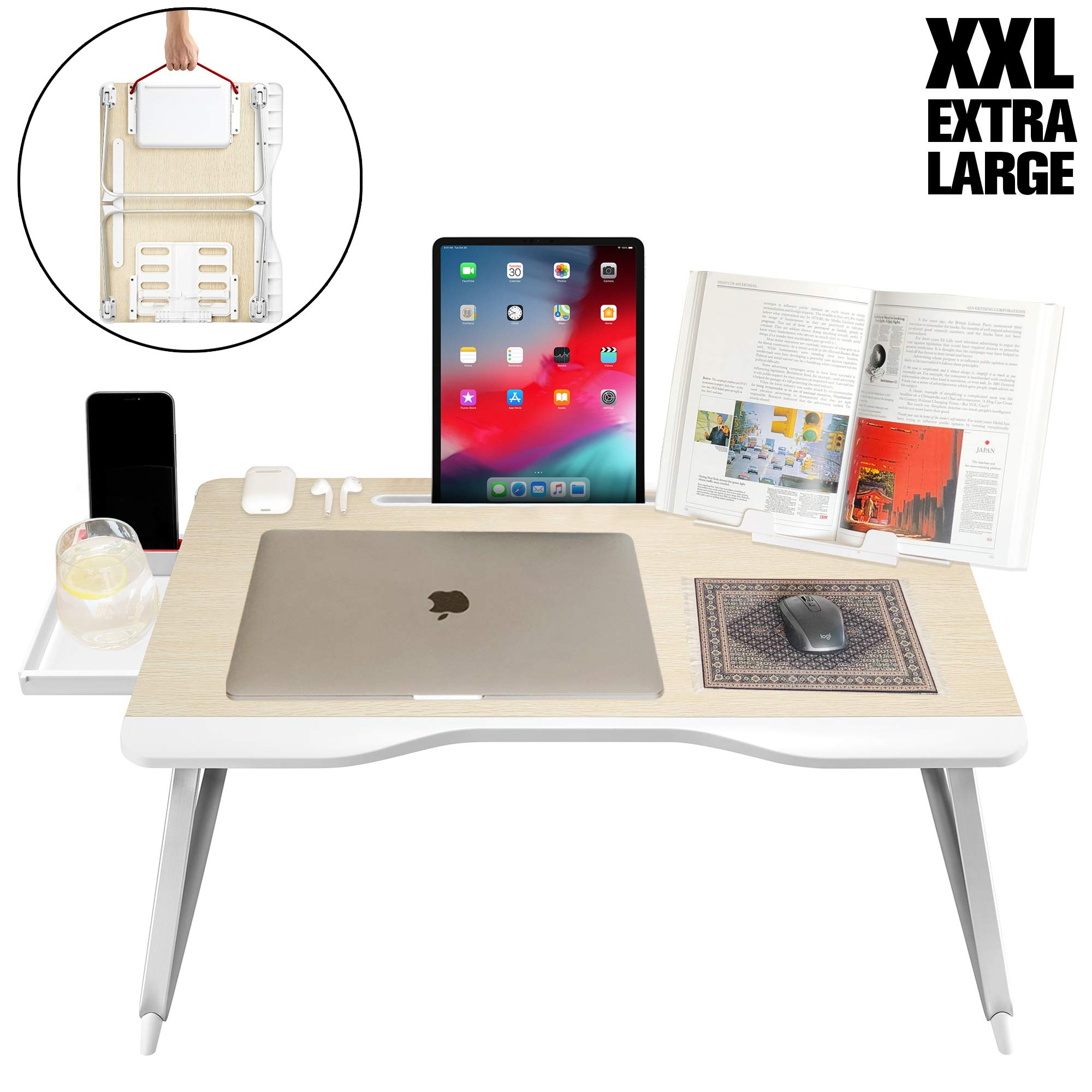 Cooper Mega Table [XXL Folding Laptop Desk] for Bed & Sofa | Couch Table, Bed Desk, Laptop, Writing, Study, Eating Storage, Reading Stand (White Oak) by Cooper Cases
