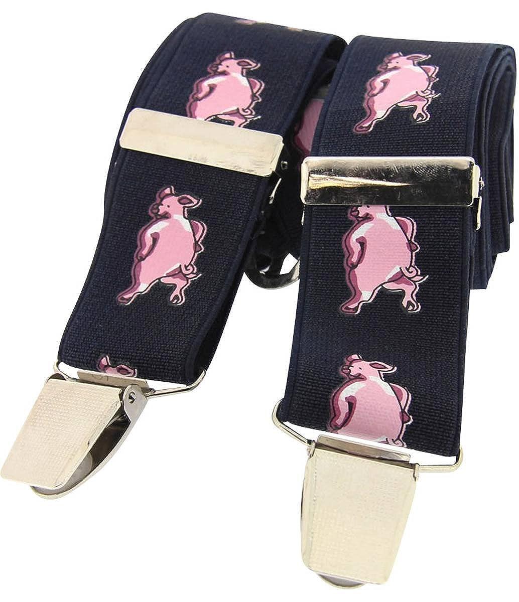 Navy//Pink David Van Hagen Mens Funny Pigs Classic Country Braces