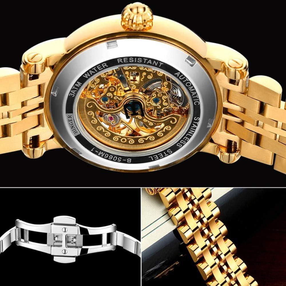 AIZHIJIA Orologi Da Uomo Orologio Da Donna In Oro Wo Gold Semplice Cassa Scheletro Trasparente Orologi Meccanici Automatici White Gold