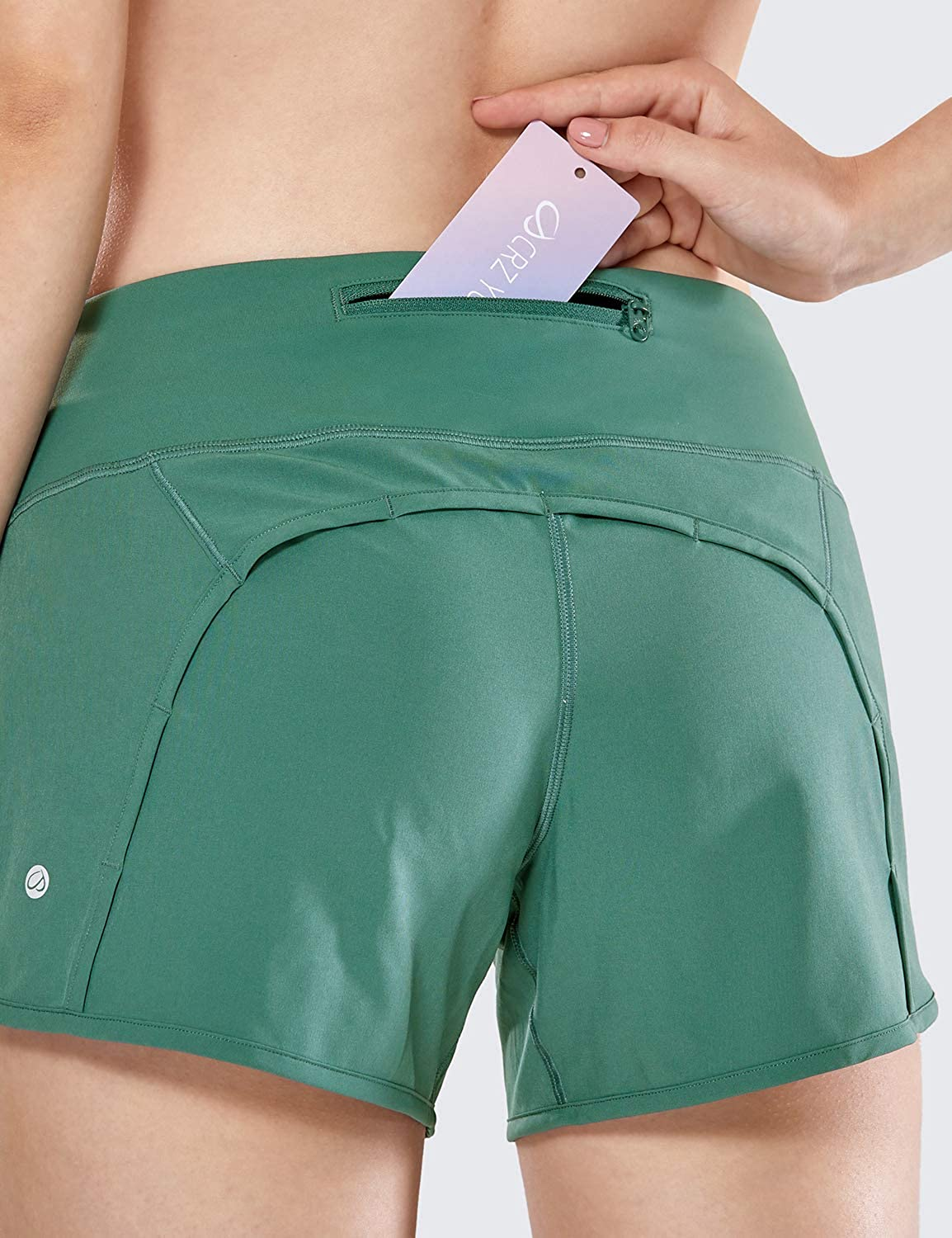 4 Inches CRZ YOGA Womens Quick-Dry Athletic Sports Running Workout Shorts with Zip Pocket