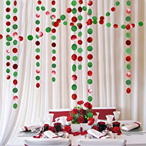 Decor365 Green and Red Circle Dots Garland Kit for Xmas Party Hanging Decoration/Streamers/Flag/Banner/Christmas Tree Garlands for New Year Eve Celebration/Birthday/Wedding/Baby Shower/Holiday Decor